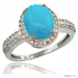 10k White Gold Diamond Sleeping Beauty Turquoise Ring Oval Stone 10x8 mm 2.4 ct 1/2 in wide