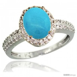 10k White Gold Diamond Sleeping Beauty Turquoise Ring Oval Stone 9x7 mm 1.76 ct 1/2 in wide