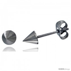 Stainless Steel Tiny Cone Spike Stud Earrings 3/16 in Round
