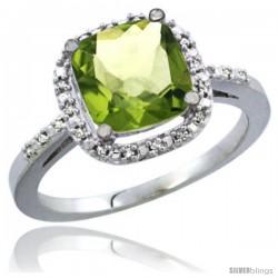 14k White Gold Ladies Natural Peridot Ring Cushion-cut 3.8 ct. 8x8 Stone Diamond Accent
