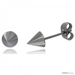 Stainless Steel Cone Spike Stud Earrings 1/4 in Round