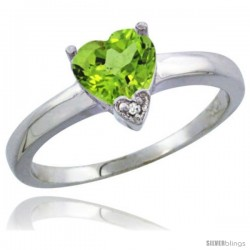 14K White Gold Natural Peridot Heart-shape 7x7 Stone Diamond Accent
