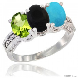 14K White Gold Natural Peridot, Black Onyx & Turquoise Ring 3-Stone Oval 7x5 mm Diamond Accent