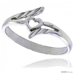 Sterling Silver Heart Ring Polished finish 3/8 in wide -Style Ffr453