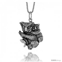 Sterling Silver Koala Bear Pendant, 3/4 in