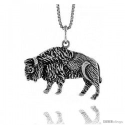 Sterling Silver Bull Pendant, 3/4 in -Style 4p413
