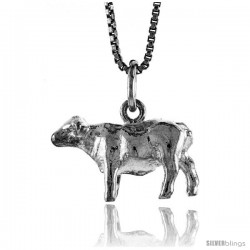 Sterling Silver Cow Pendant, 1/2 in