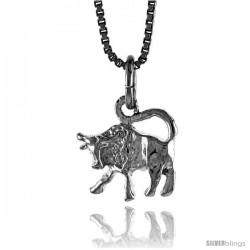 Sterling Silver Cow Pendant, 3/8 in