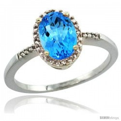 Sterling Silver Diamond Natural Swiss Blue Topaz Ring 1.17 ct Oval Stone 8x6 mm, 3/8 in wide