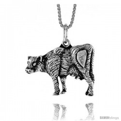 Sterling Silver Cow Pendant, 5/8 in