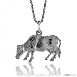 Sterling Silver Cow Pendant, 1/2 in -Style 4p417