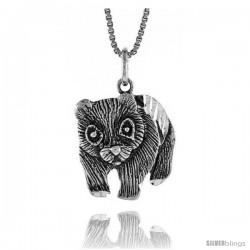 Sterling Silver Panda Bear Pendant, 3/4 in
