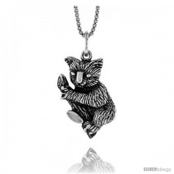 Sterling Silver Koala Bear Pendant, 7/8 in -Style 4p420