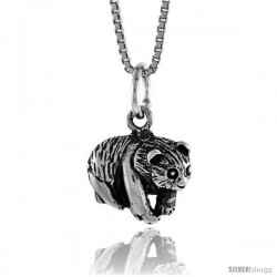 Sterling Silver Bear Pendant, 1/2 in