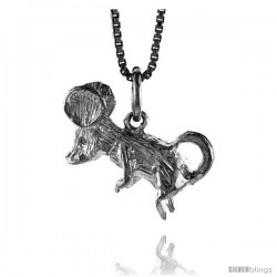 Sterling Silver Mouse Pendant, 3/4 in