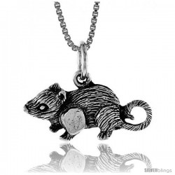 Sterling Silver Rat Pendant, 3/8 in