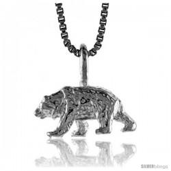 Sterling Silver Bear Pendant, 1/4 in