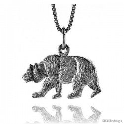 Sterling Silver Bear Pendant, 1/2 in -Style 4p427