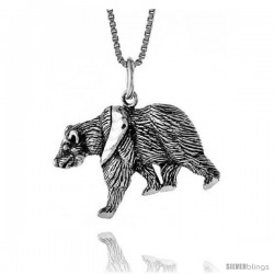 Sterling Silver Bear Pendant, 5/8 in -Style 4p428
