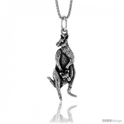 Sterling Silver Kangaroo Pendant, 1 1/16 in