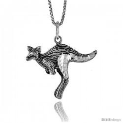 Sterling Silver Kangaroo Pendant, 3/4 in