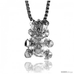 1/2 in Sterling Silver 1/2 in Teeny Teddy Bear Pendant