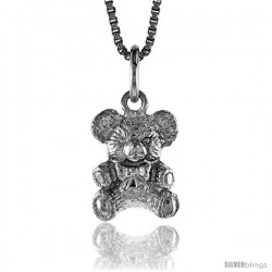 Sterling Silver Teddy Bear Pendant, 1/2 in