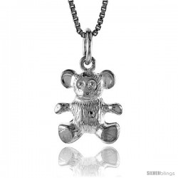 Sterling Silver Teddy Bear Pendant, 1/2 in -Style 4p435
