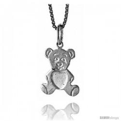 Sterling Silver Teddy Bear Pendant, 1/2 in -Style 4p436