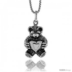 Sterling Silver Teddy Bear Pendant, 3/4 in