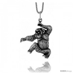 Sterling Silver Chimp Pendant, 1 in