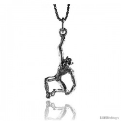 Sterling Silver Monkey Pendant, 1 1/16 in