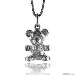 Sterling Silver Teddy Bear Pendant, 1/2 in -Style 4p443
