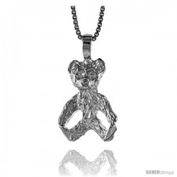 Sterling Silver Teddy Bear Pendant, 3/4 in -Style 4p444