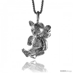 Sterling Silver Teddy Bear Pendant, 3/4 in -Style 4p445