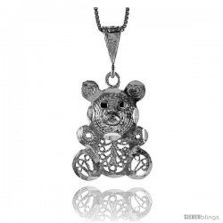 Sterling Silver Large Filigree Teddy Bear Pendant, 1 1/16 in