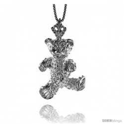 Sterling Silver Large Teddy Bear Pendant, 1 1/16 in