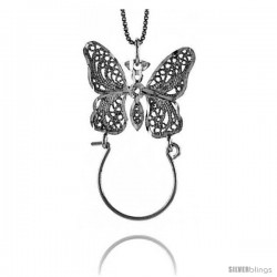Sterling Silver Large Filigree Butterfly Charm Holder Pendant, 1 1/4 in Tall