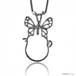 Sterling Silver Large Filigree Butterfly Charm Holder Pendant, 1 1/8 in Tall