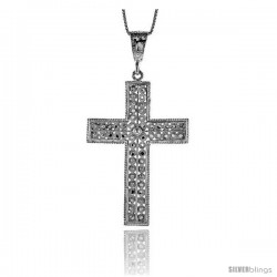 Sterling Silver Cross Pendant, 2 1/8 in