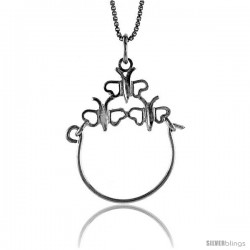 Sterling Silver Charm Holder Pendant, 1 1/16 in tall