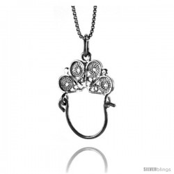 Sterling Silver Charm Holder Pendant, 1 1/16 in Tall -Style 4p453