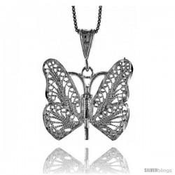 Sterling Silver Large Filigree Butterfly Pendant, 1 1/16 in