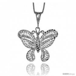 Sterling Silver Large Filigree Butterfly Pendant, 1 1/8 in