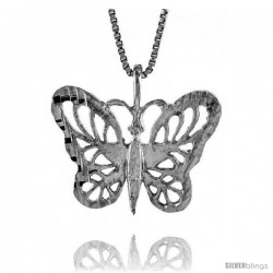 Sterling Silver Butterfly Pendant, 5/8 in