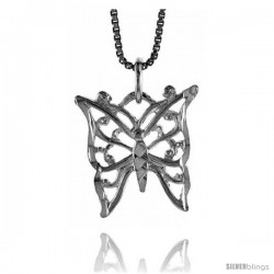 Sterling Silver Butterfly Pendant, 3/4 in