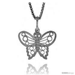 Sterling Silver Small Butterfly Pendant1/2 in