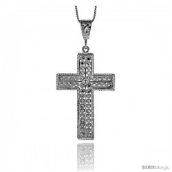 Sterling Silver Cross Pendant, 2 1/16 in