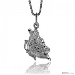 Sterling Silver Butterfly Pendant, 5/8 in -Style 4p460