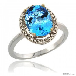 Sterling Silver Diamond Natural Swiss Blue Topaz Ring 2.4 ct Oval Stone 10x8 mm, 1/2 in wide -Style Cwg04114